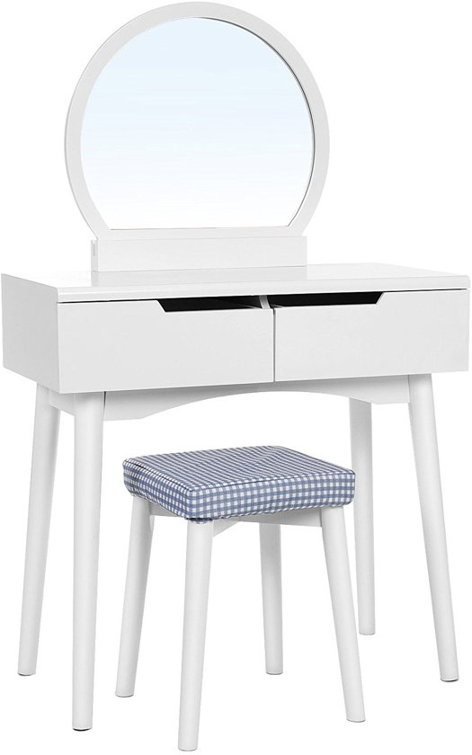 Spiegel Voor Op Kaptafel.Bol Com Moderne Kaptafel Met Spiegel En Kruk