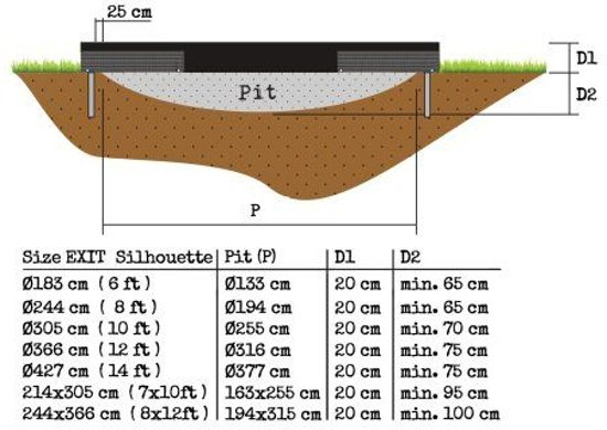 Exit Silhouette Inground 214 x 305 cm Zwart