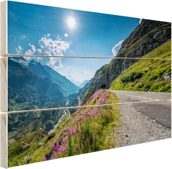 Weg naar de Sustenpass in Zwitserland Hout 160x120 cm - Foto print op Hout (Wanddecoratie) XXL / Groot formaat!