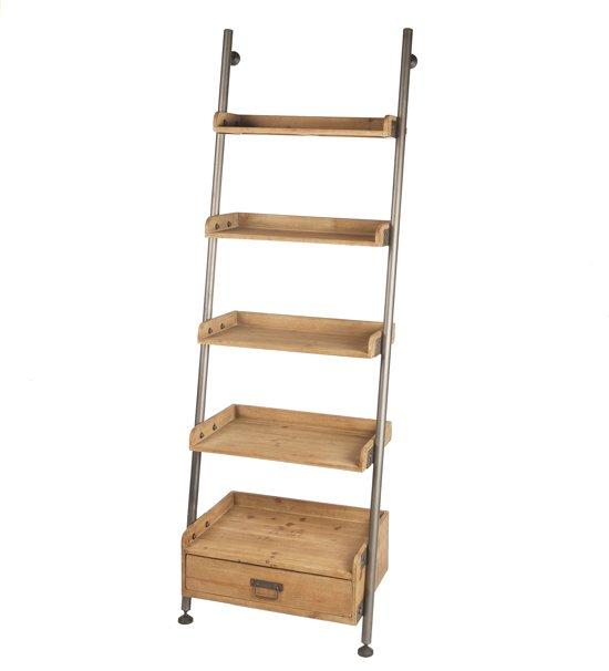 bol | houten ladder - wandkast - decoratie -hout - naturel - 66