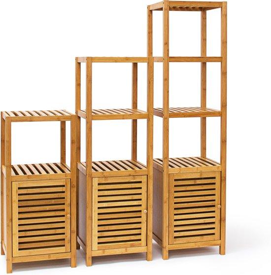 bol.com | relaxdays - badkamerrek met deur bamboe - opbergrek ...