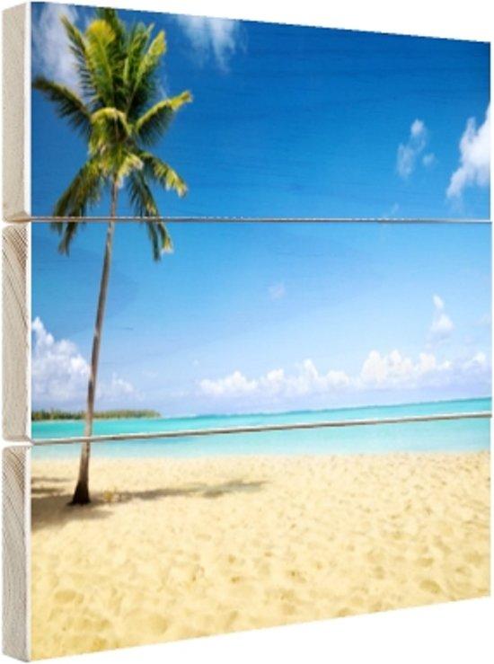 Een kokospalm bij de zee Hout 30x20 cm - Foto print op Hout (Wanddecoratie)