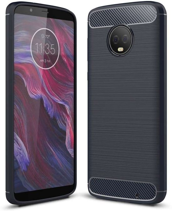 Motorola Moto G6 Plus hoesje - Rugged TPU Case - blauw