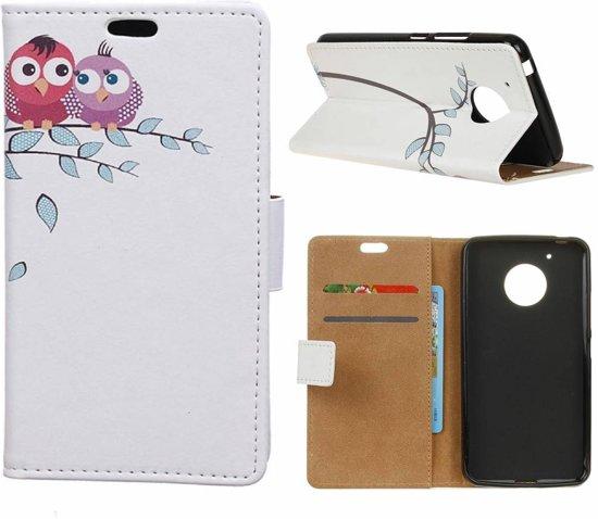 GSMWise - Motorola Moto G5 - Portemonnee Hoesje met Kaarthouder - Two Little Owls on Branch Design - Wit in Miécret