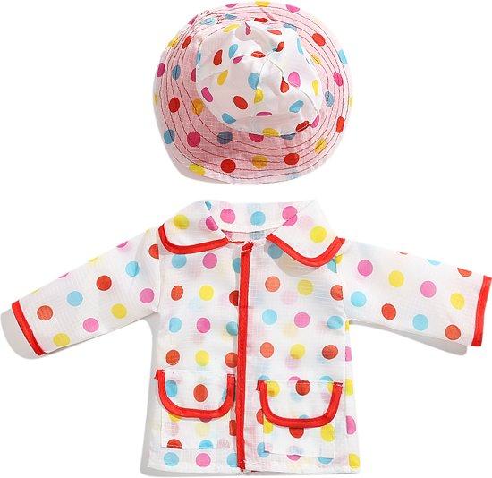 Regenjas met muts voor pop zoals baby born of American Doll - Poppenkleertjes voor poppen met lengte van circa 43 cm - Regenkleding