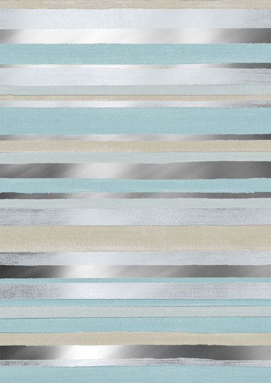Blauw met Zand gestreept cadeaupapier Cabo Raya - Toonbankrol breedte 60cm - 150m lang
