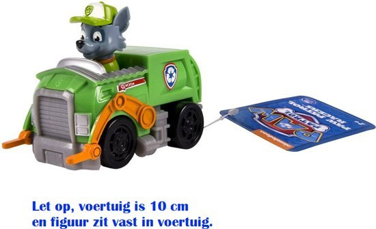 Paw Patrol Rescue Racers - Rocky Vuilniswagen - 10 cm