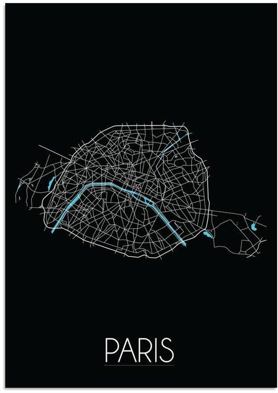 Plattegrond Parijs Stadskaart poster DesignClaud - Zwart - A4 + Fotolijst wit