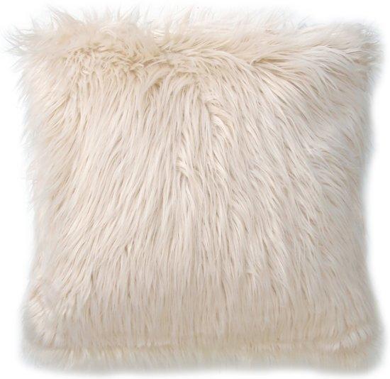 Lavandoux - Fluffy Imitatiebont Sierkussen - 60 x 60 cm - Wit