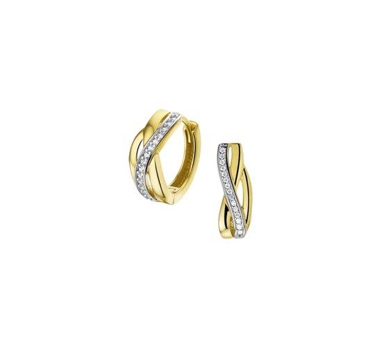The Jewelry Collection Klapoorringen Zirkonia - Geelgoud