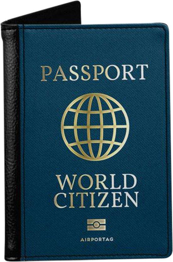 World Citizen - Paspoorthoes - Paspoorthouder - Paspoort Protector - Beschermhoes - Cover - Mapje - Canvas / Leer - Bescherming van je paspoort - Voor Op Reis / Reizen / Vakantie