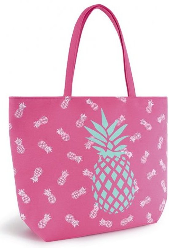 Luna Cove ANANAS Roze Strandtas Shopper Canvas Pineapple