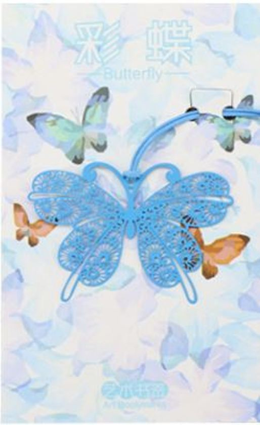 boekenlegger Vlinder blauw - metaal
