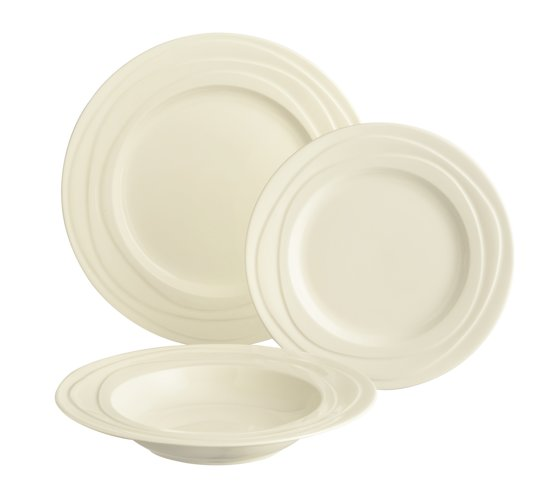 Servies Borden Set.Jamie Oliver Waves 4 Persoons Bordenset 12 Delig 4x Ontbijt Bord 21 Cm 4x Diepe Bord 23 Cm 4x Diner Bord 27 Cm Servies Borden Set