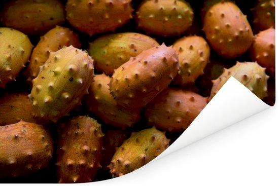 Een foto vol met gehoornde meloenen Poster 120x80 cm - Foto print op Poster (wanddecoratie woonkamer / slaapkamer)