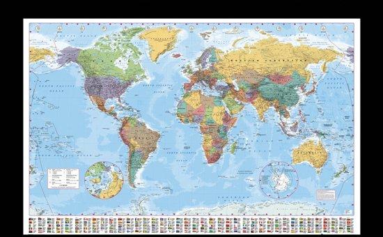 bol | wereldkaart poster inclusief houten wissellijst (65x96.5cm)