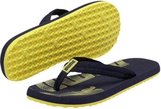 53d97b15be8 bol.com | Puma Epic Flip Slippers Heren Donker Blauw / Geel Maat 47