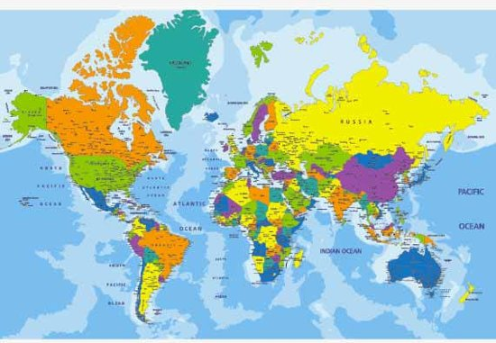 bol | wereldkaart poster - 120x80 cm - multi