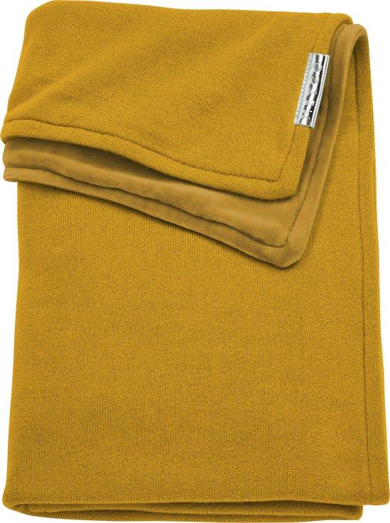 Meyco wiegdeken Knit Basic met velvet - 75x100 cm - okergeel