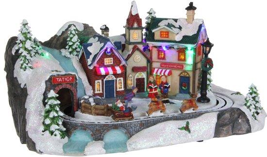 Luville led dorpje met bewegende kerstmanslee met rendieren en muziek maat in cm: 37 x 23 x 19.5