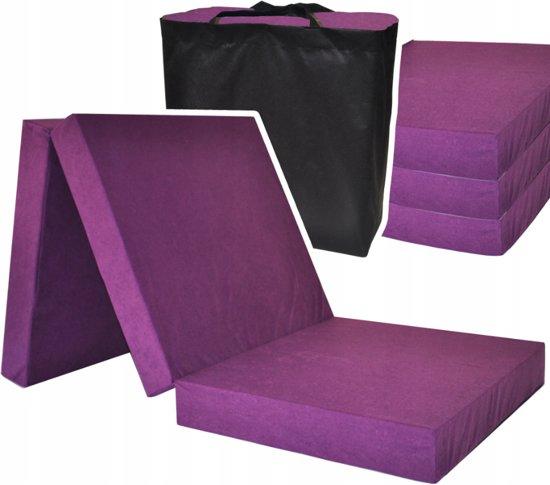 Logeermatras extra dik - violet - camping matras - reismatras - opvouwbaar matras - 195 x 80 x 15