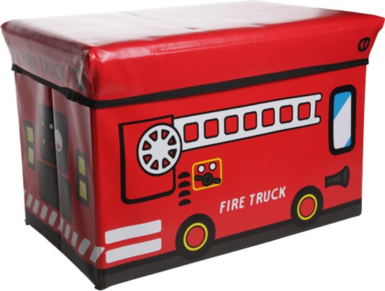 Cosy&Trendy for kids Kiddie Opbergzitbox - Brandweerauto - 49 cm x 49 cm