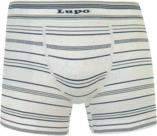 Lupo - Boxershorts microfiber naadloos - Streifen, wit/zwart, maat L