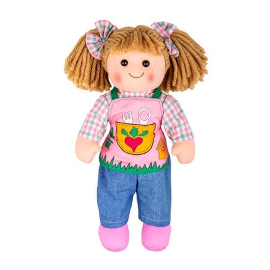 Bigjigs stoffen pop Elsie 34 cm popje stof lappen meisjespop tuin garden