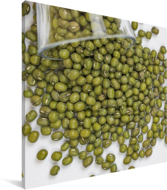 Mungbonen die uit een glas rollen Canvas 20x20 cm - klein - Foto print op Canvas schilderij (Wanddecoratie woonkamer / slaapkamer)