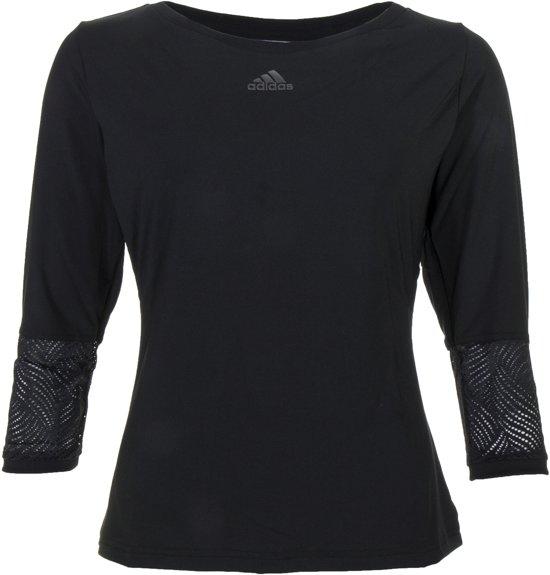 adidas London Line 3/4 Tee Sportshirt performance - Maat M - Vrouwen - zwart