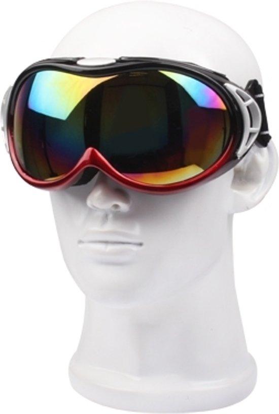 offizielle Fotos 100% hohe Qualität Bestbewertet echt Sportieve anti-effect Snowboard bril / brillen voor skiën racen met lederen  tas (rood)