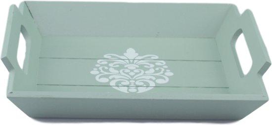 Decoratie tray met ornament - Groen - 23.5x20x4cm