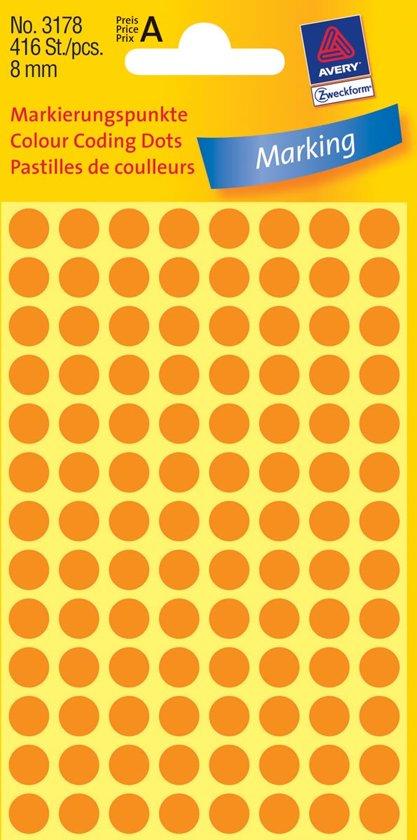 Huismerk Avery 3178 Ronde Etiket 8mm Oranje