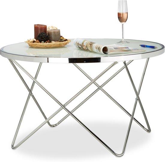 Betere bol.com | relaxdays - bijzettafel groot - melkglas - loungetafel EC-06