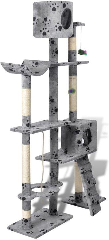 Krabpaal Tommie - 175 cm 2 huisjes - Grijs met pootafdrukken