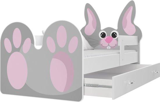 Kinderbed konijn 80x160 cm - roze- met lade - zonder matras