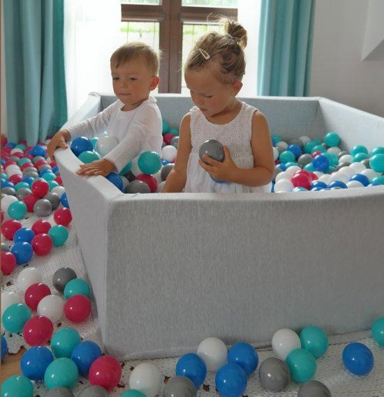 Zachte Jersey baby kinderen Ballenbak met 1200 ballen, 120x120 cm - zwart, wit, roze, grijs