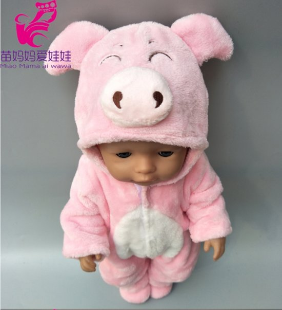 Poppenkleertjes | Geschikt voor Baby Born | Varken onesie met slofjes | Roze | Met capuchon | Pyjama