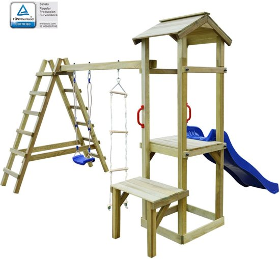 vidaXL Speelhuis met glijbaan, ladders en schommel 286x228x218 cm hout