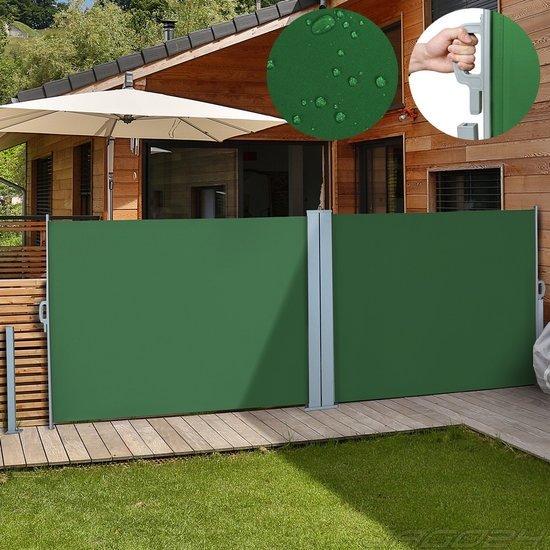 Zonne- windscherm 180 x 600 cm dubbel groen met wandbeugel