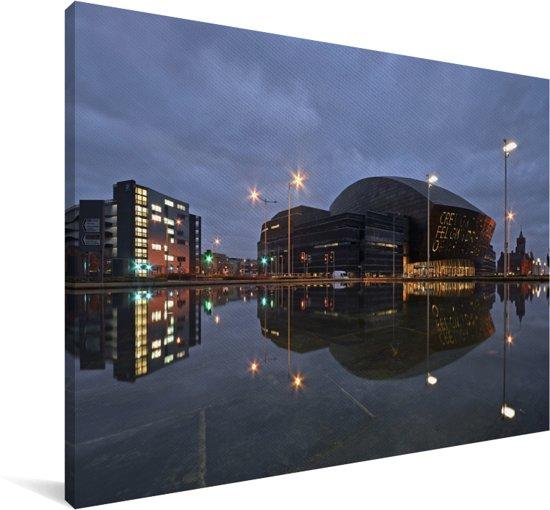 Een uitzicht op het Wales Millennium Centre in Cardiff Canvas 60x40 cm - Foto print op Canvas schilderij (Wanddecoratie woonkamer / slaapkamer) / Europese steden Canvas Schilderijen