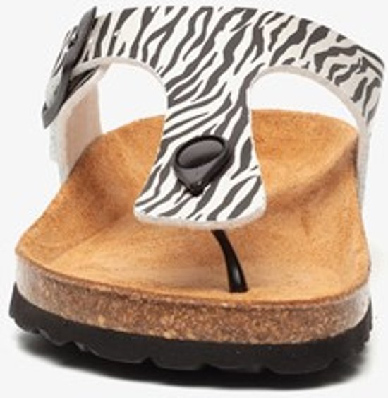 Hush Puppies dames bio teenslippers met zebraprint - Wit