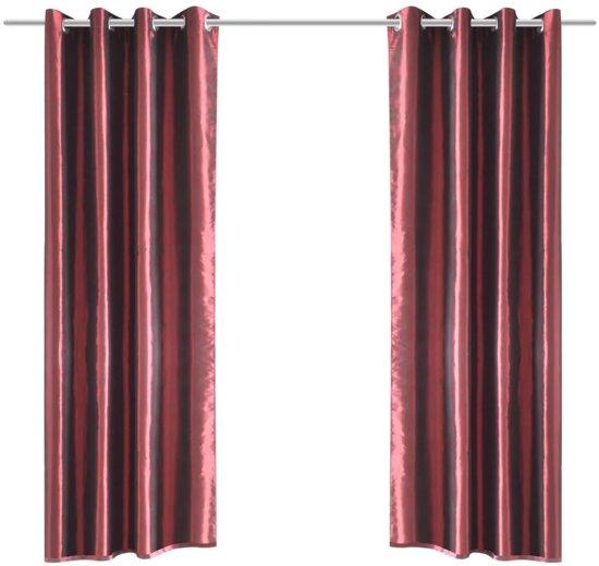 vidaxl gordijn tafzijde bordeaux met metalen ringen 140x245 cm 2 stuks