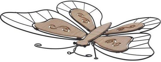 Vlinder wanddecoratie metaal 44 cm