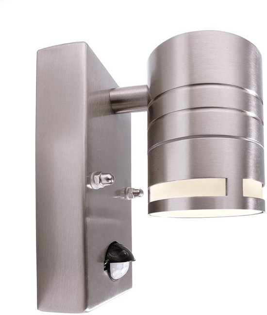 """Zoomoi Zilly II """"Down"""" -  buitenlamp met sensor wand - rvs - geschikt voor led"""