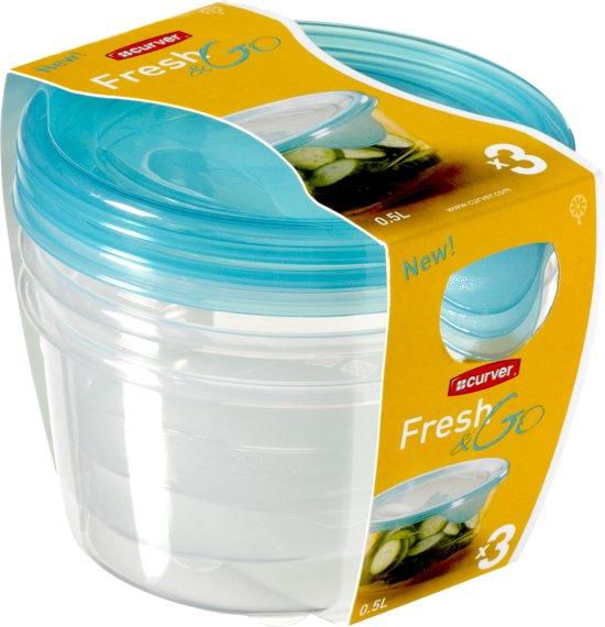 Curver Fresh&Go Vershoudbakjes - 3x0,5l - Transparant/Precious Blauw