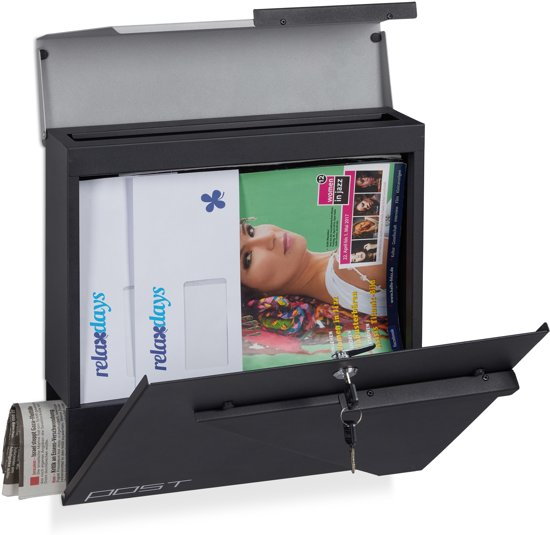 relaxdays wandbrievenbus - afsluitbaar - krantenrol - A4 formaat - brievenbus - wandmodel Zwart-zilver