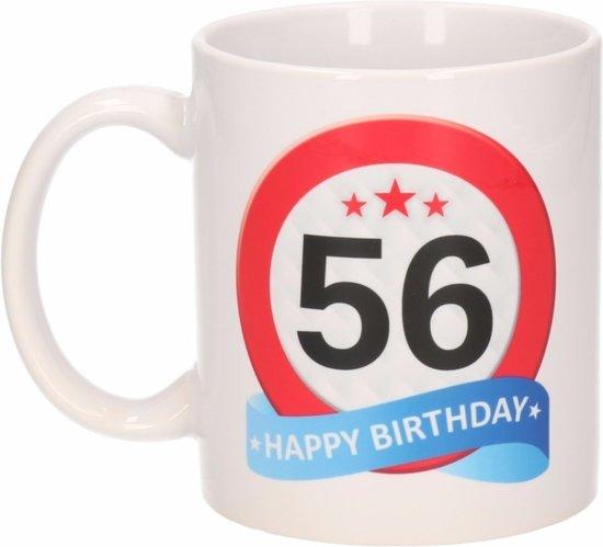 Verjaardag 56.Verjaardag 56 Jaar Verkeersbord Mok Beker