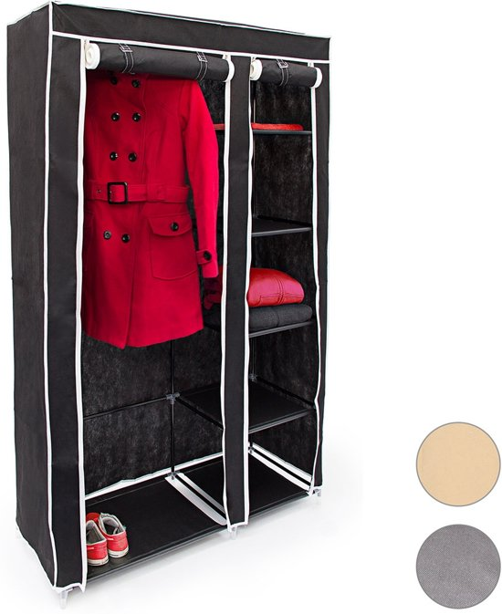relaxdays opvouwbare kledingkast VALENTIN XL stofkast campingkast mobiele kast beige