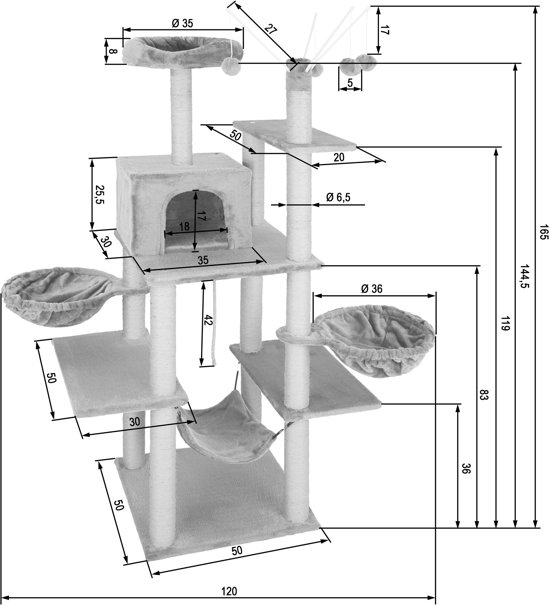 TecTake - Krabpaal Lilou bruin 165 cm - 402934
